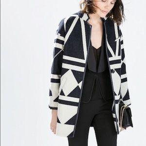 ZARA Geometric Wool Coat